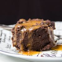 "Chocolate zucchini muffin ""bread"" pudding with date syrup (GF)"