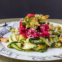 WIAW + zucchini pasta with beet + fig hummus