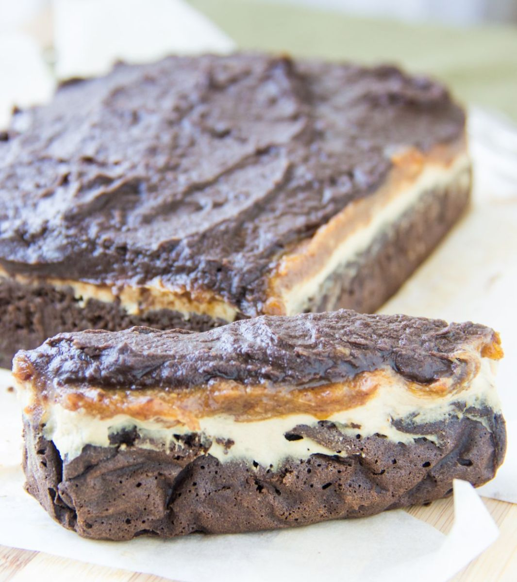 Vegan nougat caramel chocolate cake