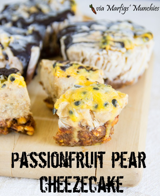 Passionfruit pear cheezecakes via Marfigs' Munchies {vegan + gluten-free}